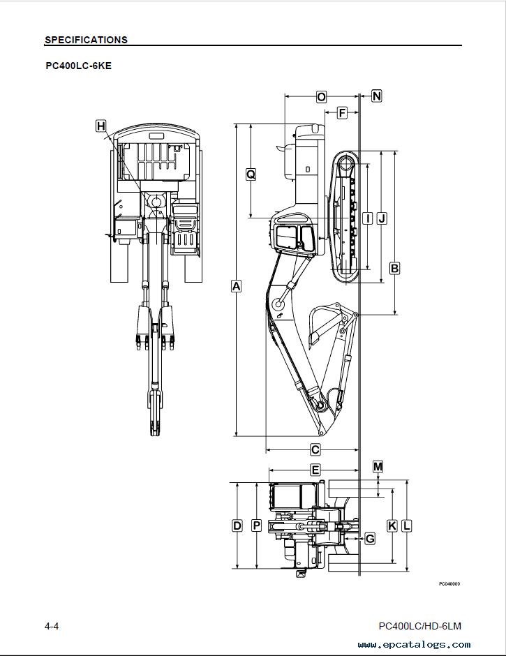 Komatsu Excavator PC400LC-6LM, PC400HD-6LM Manual