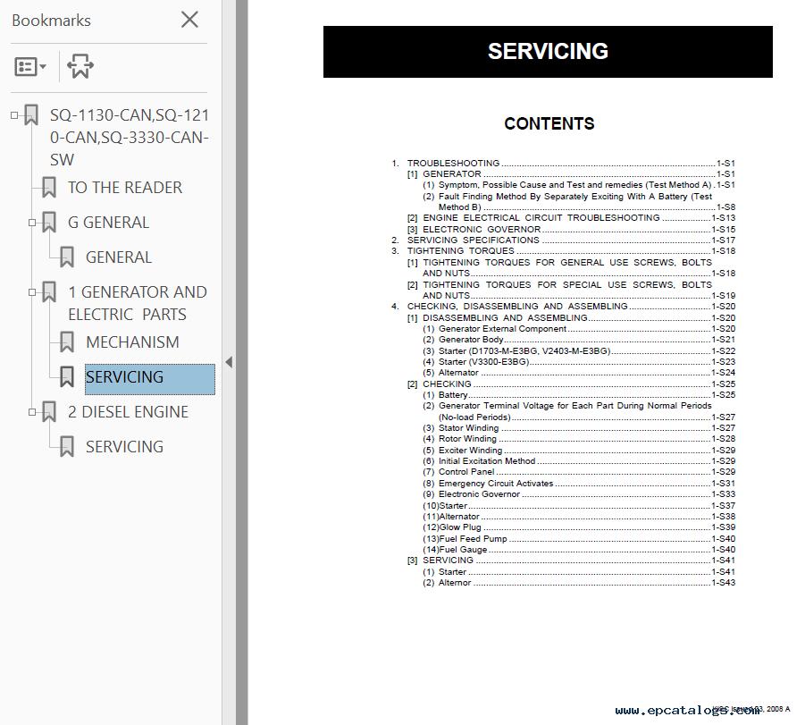 Kubota SQ-1130/1210/3330-CAN-SW Generators Shop Manual PDF