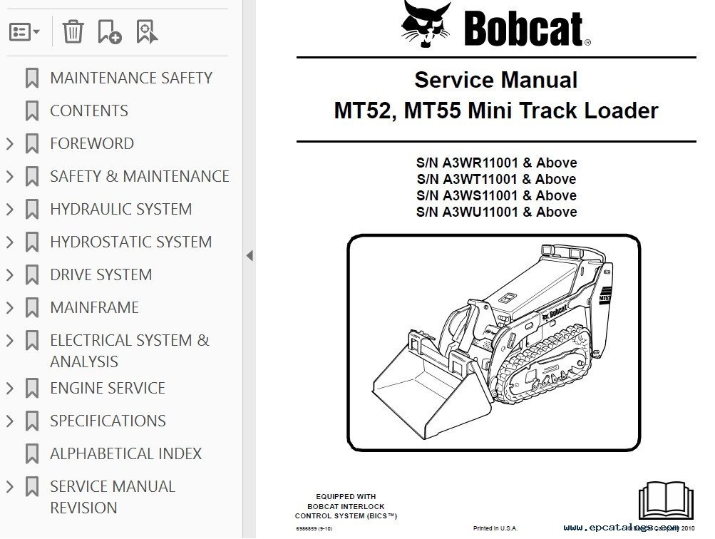 alternator to battery wiring diagram turtle s head bobcat mt52, mt55 mini track loader service manual pdf