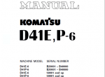 Komatsu Bulldozer D41E-6 D41P-6 PDF Manuals