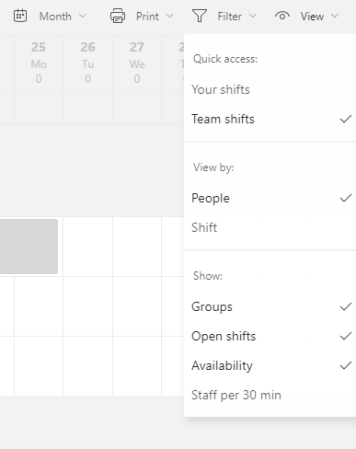 Shifts Option in Microsoft Teams