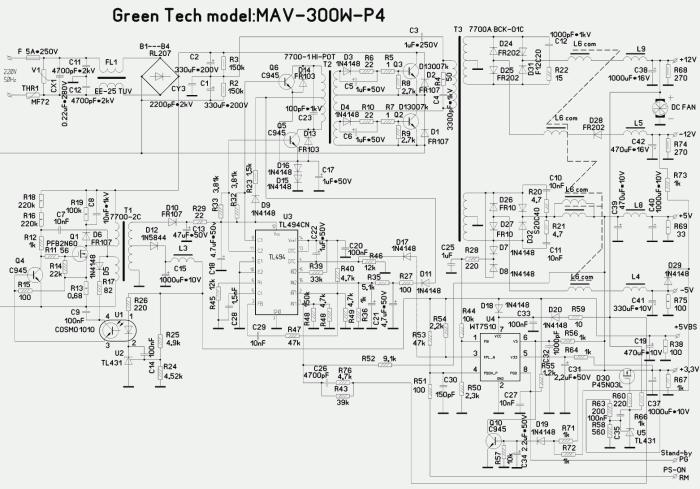 Esquematicos de fuentes de PC ATX