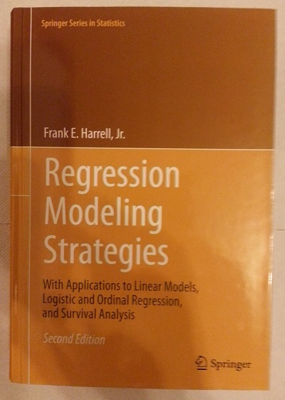 Picture of the book cover of the Second Edition of Regression Modeling Strategies by Frank E. Harrell, Jr.