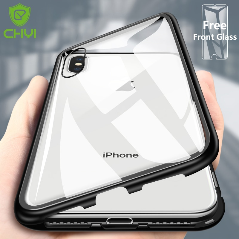pretty nice a741a 4335b CHYI Built-in Magnetic Case for iPhone X Clear Tempered Glass Magnet  Adsorption Case for iPhone 8 7 Plus glass Back Cover bumper
