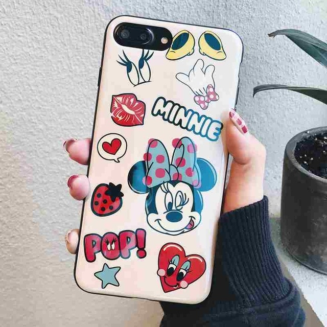the best attitude 2b7bf 54039 Cartoon Minnie Mickey Mouse Case Cover for iPhone 7 8 6s Plus X 10 Phone  Cases Blu-Ray IMD Silicone Rubber Cover Micky capinhas