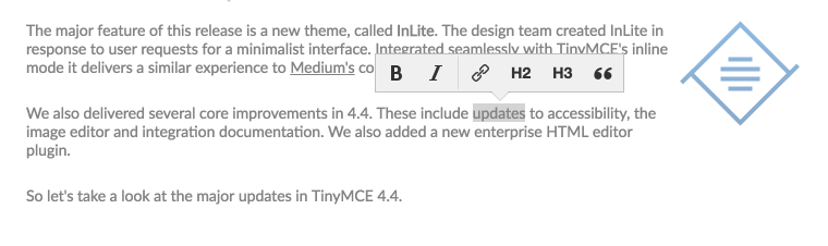 TinyMCE InLite in text example