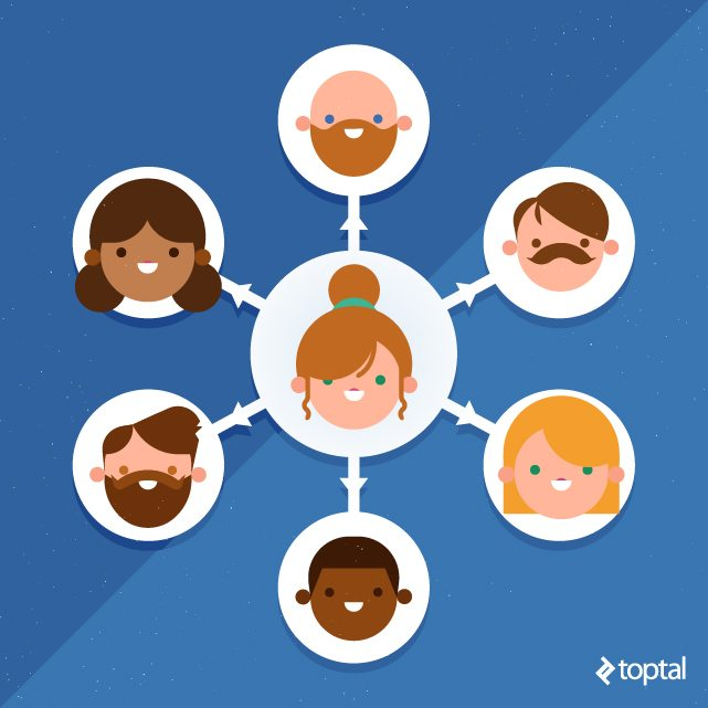 Toptal Designer Blog illustration people heads connected