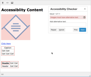 TinyMCE accessibility check