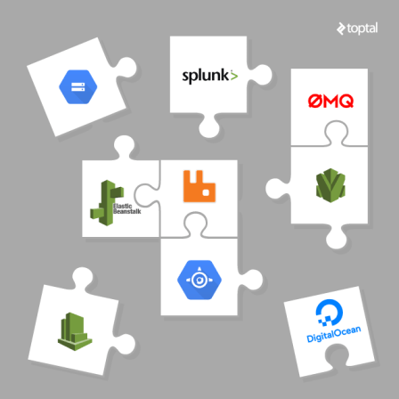 Puzzle pieces with big name tech logos fitting together
