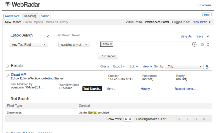 Screenshot of contextual-based text search with WebRadar 5 for IBM WCM