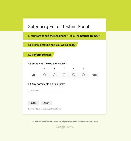 Image of the Gutenberg Test Script