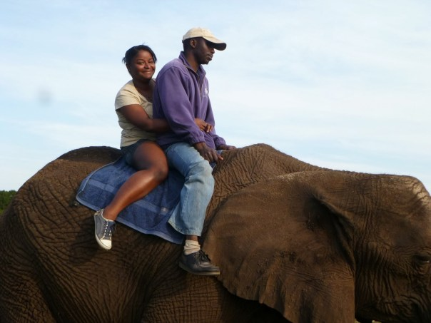 Tanesha Singletary at the Elephant Sanctuary in Port Elizabeth, South Africa