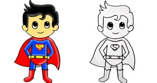 How to Draw Superhero Superman Cute Step by Step