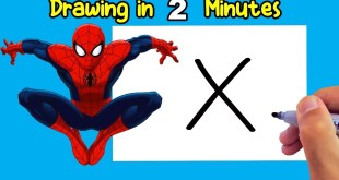 Superheroes ! Drawing Spiderman By using Alphabet X Step by Step Easy