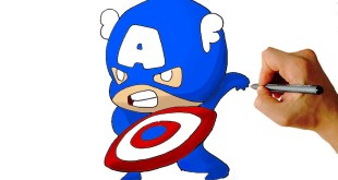 How to Draw Captain America Chibi from Marvel Civil War Characters Easy Step by Step