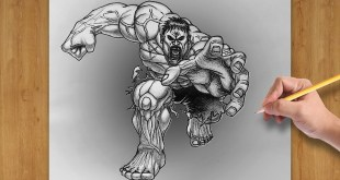 How to Draw Incredible Hulk from Marvel - Comic Style ( Time Lapse )