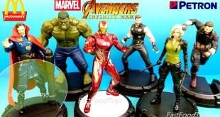 McDONALDS MARVEL HAPPY MEAL TOYS 2018 PETRON AVENGERS INFINITY WAR FULL SET 6 KID HULK IRON MAN THOR