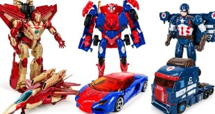 Ko Transformers Lockdown Spider Man Jetfire Iron Man Galvatron Captain america  Car Robots Toys