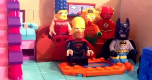 Lego Simpsons intro with DC cosplay couch gag