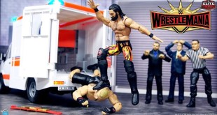 WWE AMBULANCE ACTION FIGURE MATCH | SETH ROLLINS VS BROCK LESNAR WRESTLEMANIA