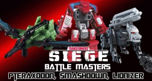 Transformers Siege : 3 Battle Masters - Pteraxadon Smashdown and Lionizer (Transformations)