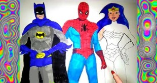 Draw and Color  Super Hero Spiderman, Batman,  Coloring pages  Wonder Woman  Learn colors for kids