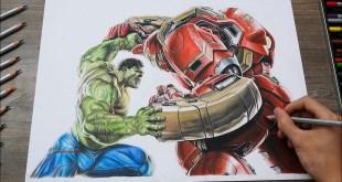 Marvel Drawing - Final Battle Hulk vs Hulkbuster | Timelapse 4k
