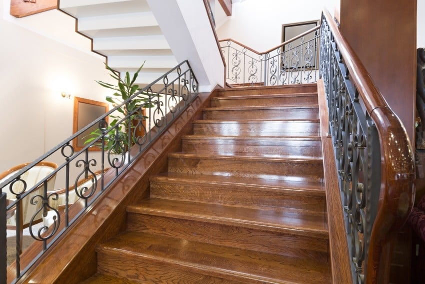25 Custom Wood Stairs And Railings Photo Gallery | Wood Railing On Concrete Steps | Stair Railing | Diy | Wooden | Railing Mode | Staircase