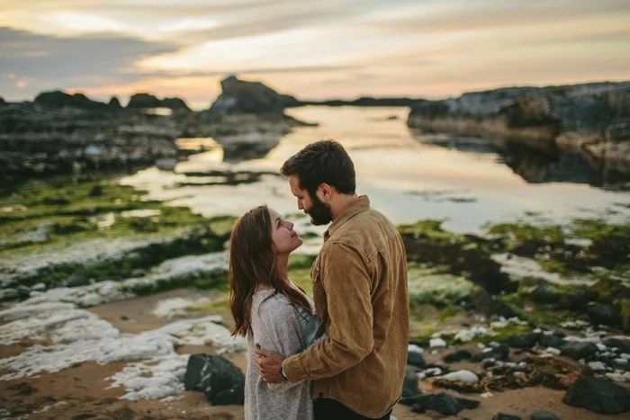 Ballintoy Harbour engagement photography Northern Ireland