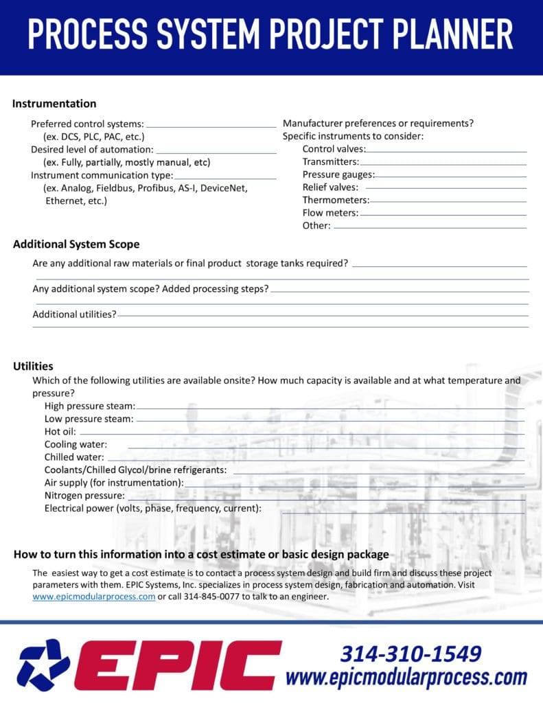 hight resolution of page from a process system design project planner