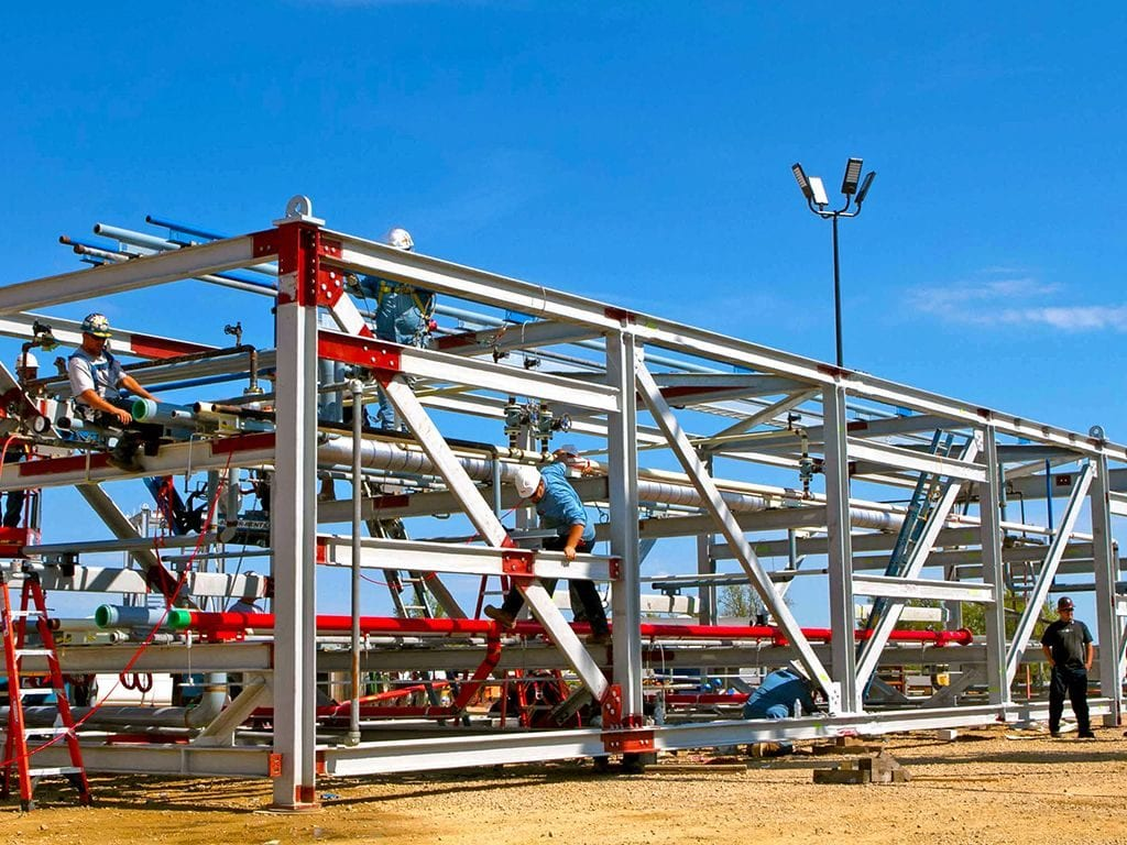 industrial piping system pipe rack