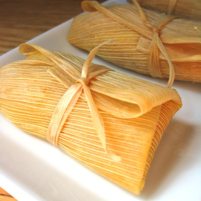 Caramelized Onion & Red Pepper Tamales with Verde Sauce