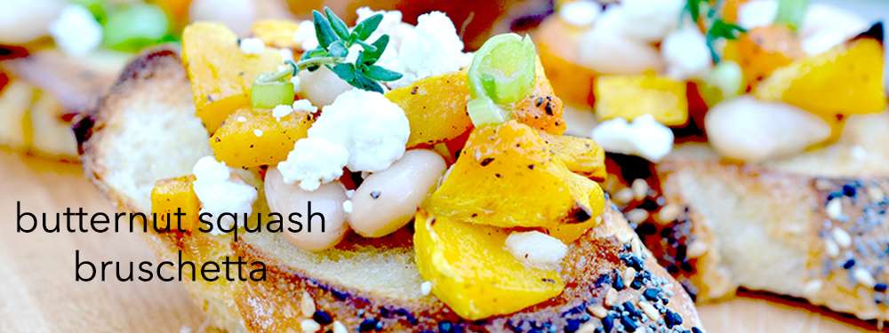 Autumn Butternut Squash, Cannellini Bean & Goat Cheese Bruschetta