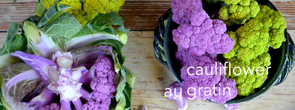 Chartreuse and Purple Cauliflower au Gratin