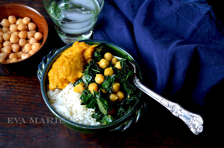Butternut Squash Curry Puree With Sautéed Kale & Chickpeas