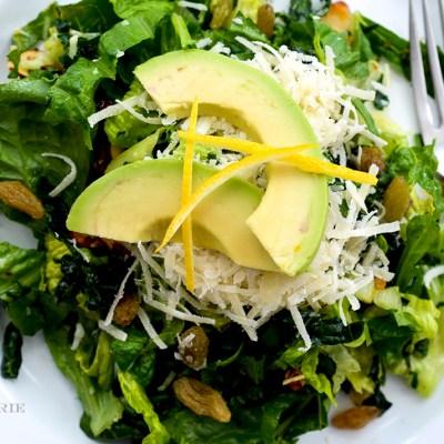 California Salad ~ Romaine, Kale, Almonds, Green Raisins, Avocado with a Lemon Honey Vinaigrette