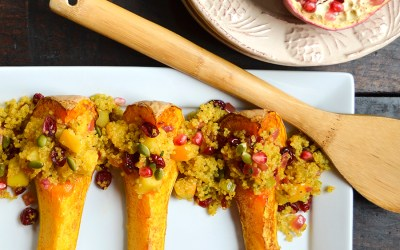 Roasted Butternut Squash with Curried Quinoa Stuffing {vegan, gluten/dairy free}