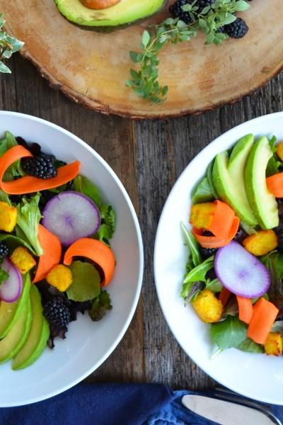 Farmer's Salad with Polenta Croutons {gluten-free}