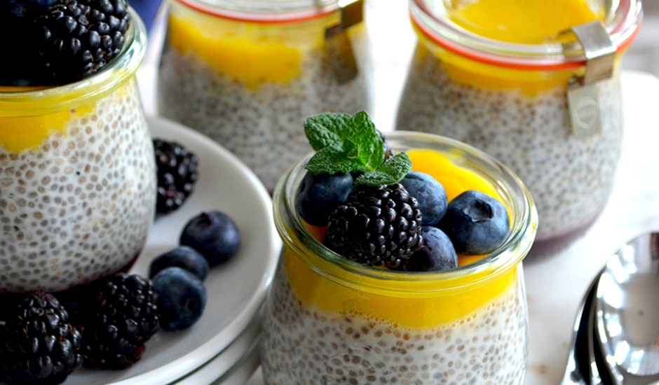 Blueberry, Vanilla and Mango Chia Protein Parfait {vegan} {gluten-free} {dairy free}