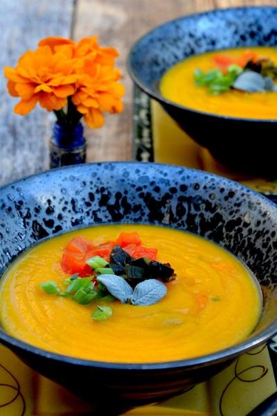 Southwest Butternut Squash and Poblano Soup {vegetarian, vegan, gluten-free}