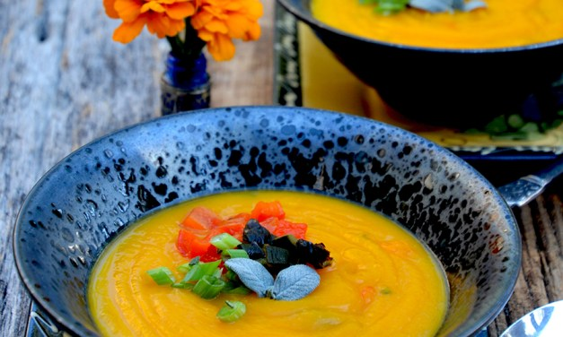 Peace in a Bowl of Southwest Butternut Squash and Poblano Soup