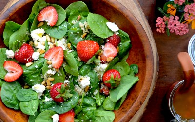 Spinach Quinoa and Strawberry Salad with Feta and Toasted Pinenuts