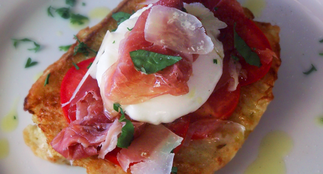 Savory French Toast with Poached Egg and Prosciutto