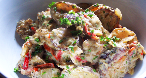 Roast Red Pepper and Onion Potato Salad