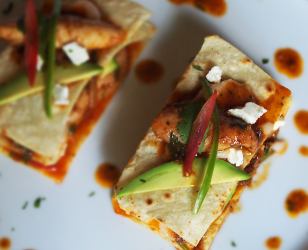 Braised Chili Lime and Cumin Layered Chicken Tacos with White Bean Purée