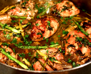Asparagus and Mushroom Herbed Roast Chicken