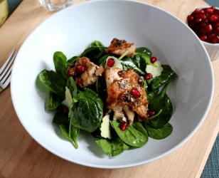 Chicken Pomegranate Spinach Salad