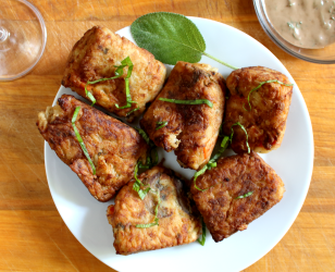 Rice Fritters with a Balsamic Basil Sage Aioli