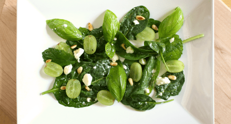 Spinach Grape and Herb Salad with Feta and Pine Nuts