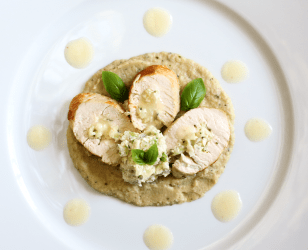 Broccoli and Goat Cheese Turkey Roulade with Garlic Parmesan Eggplant Purée